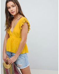 ASOS - Design Plunge Top With Peplum And Tie Open Back - Lyst