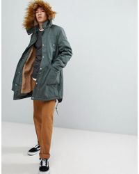 ASOS - Asos Heavyweight Parka With Borg Lining And Faux Fur Trim In Khaki - Lyst