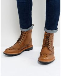 Ben Sherman - Brogue Boots In Tan Leather - Lyst