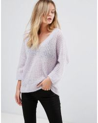 SELECTED - 3/4 Sleeve V-neck Jumper - Lyst