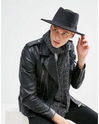 ASOS - Design Pork Pie Hat In Black With Diamond Crown - Lyst