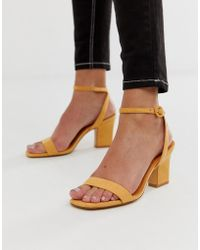 Mango - Two Part Mid Sandals In Yellow - Lyst