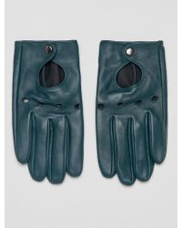 ASOS - Leather Driving Gloves In Green - Lyst