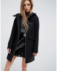 ASOS - Hooded Slim Coat With Zip Front - Lyst