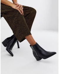 Pimkie - Western Heeled Boots With Zip Detail In Black - Lyst