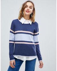 Esprit - Colour Block Stripe Round Neck Jumper - Lyst