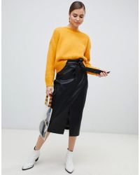 Monki - Faux Leather Belted Midi Skirt In Black - Lyst