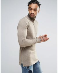 ASOS - Muscle Fit Longline Jumper With Side Zips - Lyst
