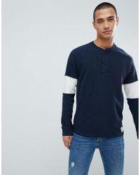 Abercrombie & Fitch - Varsity Raglan Henley Lightweight Sweatshirt Sleeve Band In Navy/grey - Lyst