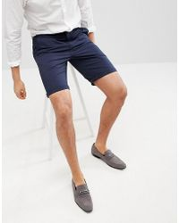 Solid - Slim Fit Chino Short In Navy - Lyst