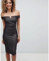 AX Paris - Bardot Midi Dress - Lyst
