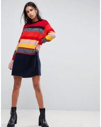 8b769b9b4f57 ASOS Asos Design Petite Mini Skater Dress With Tie Front In Colour ...