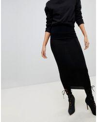 PrettyLittleThing - Black Midaxi Skirt - Lyst