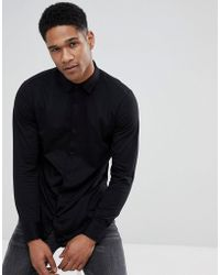 Stradivarius - Slim Fit Jersey Shirt In Back - Lyst