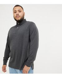 Tommy Hilfiger - Big & Tall Icon Flag Logo Regular Fit Long Sleeve Pique Polo In Charcoal Marl - Lyst