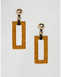 Monki - Drop Rectangle Amber Earrings In Gold - Lyst