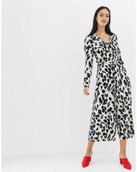 640ad8afe3d UNIQUE21 - Leopard Print Long Sleeve Jumpsuit - Lyst