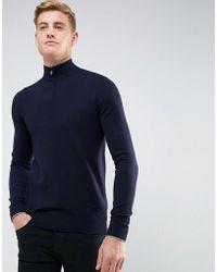Armani Jeans - Half Zip Logo Jumper Navy - Lyst