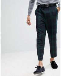 ASOS - Tapered Smart Trousers In Blackwatch Tartan - Lyst