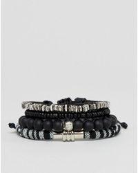 ASOS - Design Monochrome Bracelet Pack With Beads - Lyst