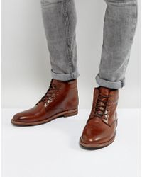 Dune - Lace Up Boots In Brown Leather - Lyst
