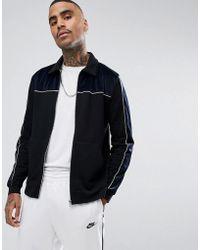 ASOS - Velour Cut & Sew Harrington Jersey Jacket - Lyst