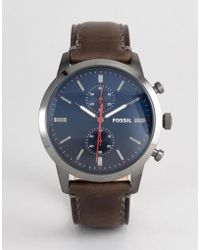 Fossil - Chronograph Leather Watch With Dark Blue Dial - Lyst
