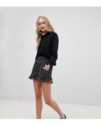 Daisy Street - High Waist Shorts With Ruffle Hem In Spot - Lyst