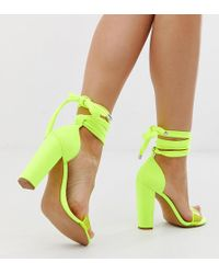 69decf632cbe ASOS - Wide Fit Witness Barely There Block Heeled Sandals In Neon Yellow -  Lyst