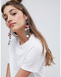 ASOS - Design Statement Woven Wrap Tassel And Coin Earrings - Lyst