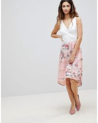 Oasis - 2-in-1 Midi Dress With Floral Skirt - Lyst