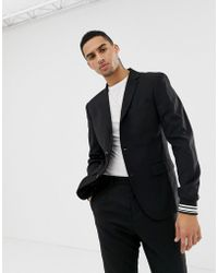 Solid - Party Suit Blazer With Stripe Cuff Sleeve In Black - Lyst