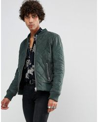Goosecraft | Leather Quilted Bomber Jacket In Khaki | Lyst