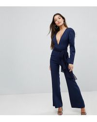 Missguided - V-neck Plunge Long Sleeve Tie Waist Jumpsuit - Lyst