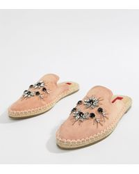 London Rebel - Embellished Espadrille Mules - Lyst