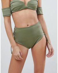 SKYE & staghorn - Skye & Staghorn High Waisted Stripe Lace Up Bikini Bottom - Lyst