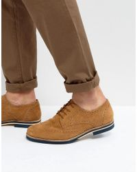 Dune - Brogues In Tan Suede - Lyst