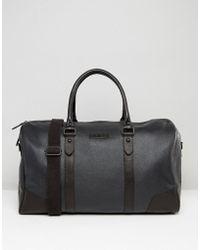 Barneys Originals - Barneys Structured Leather Holdall In Black - Lyst