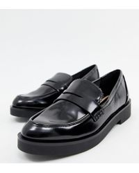 0cef6b835 Bershka Patent Slip On Loafers In Black in Black - Lyst
