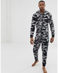 River Island - Onesie With Camo Print In Grey - Lyst
