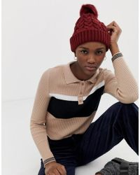 ASOS - Cable Knit Faux Fur Pom Beanie - Lyst
