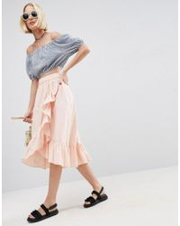 ASOS | Wrap Midi Skirt In Cotton With Ruffle Hem | Lyst