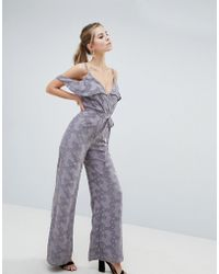 Oh My Love - Cold Shoulder Lace Jumpsuit With Frill Detail - Lyst