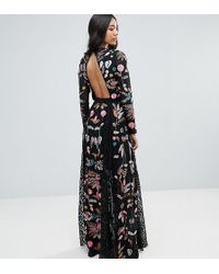 Frock and Frill - Embroidered Maxi Dress With Lace Inserts - Lyst
