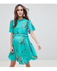 ASOS - Asos Design Maternity Tea Mini Dress With Ruffle Detail In Floral Print - Lyst