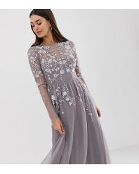 ASOS - Asos Design Tall Long Sleeve Maxi Dress In Embroidered Mesh - Lyst