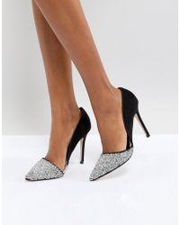 Miss Kg - Eloise Silver Glitter Court Shoes - Lyst