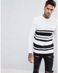 Bershka - Textured Striped Jumper In White And Black - Lyst