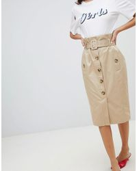 River Island - Midi Skirt With Utility Belt Detail In Light Camel - Lyst