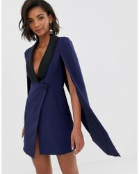 Lavish Alice - Navy Tuxedo Cape Dress With Contrast Black Satin Lapel - Lyst